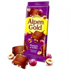 Молочный шоколад Alpen Gold «Фундук и Изюм»