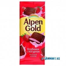Молочный шоколад Alpen Gold «Клубника с Йогуртом»