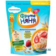 """Каша молочная """"Фруто НЯНЯ"""" мультизлаковая каша с бананом, кукурузными хлопьями и кусочками клубники."""